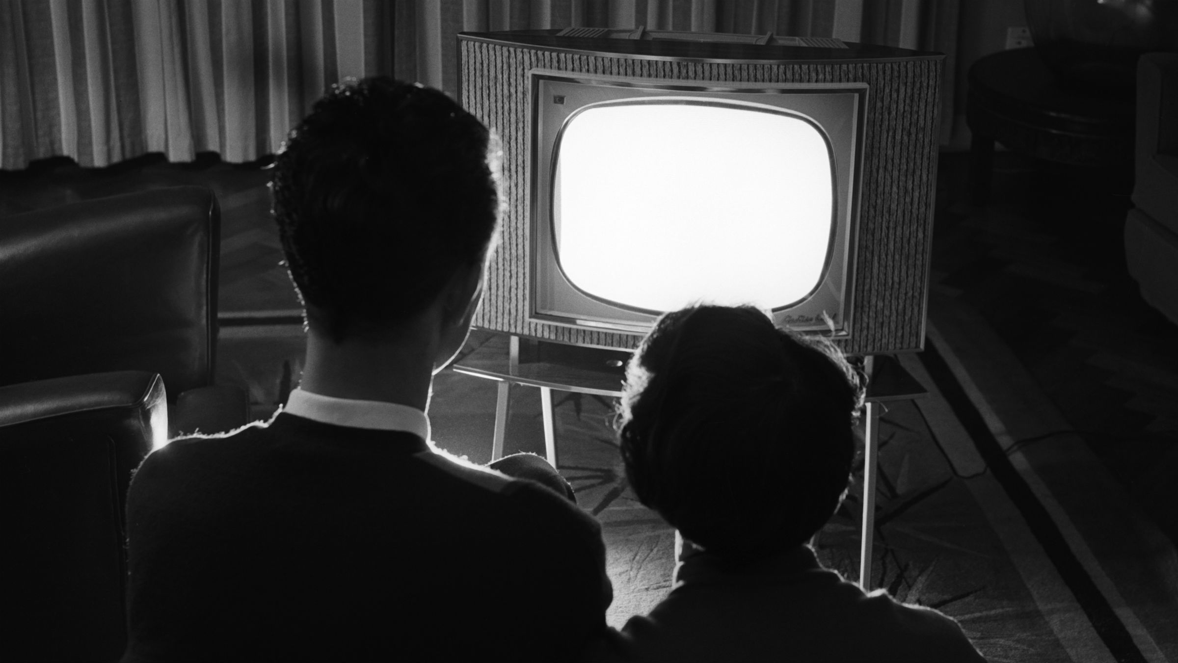 A couple watching TV, Bickley, Kent, 15th September 1960.
