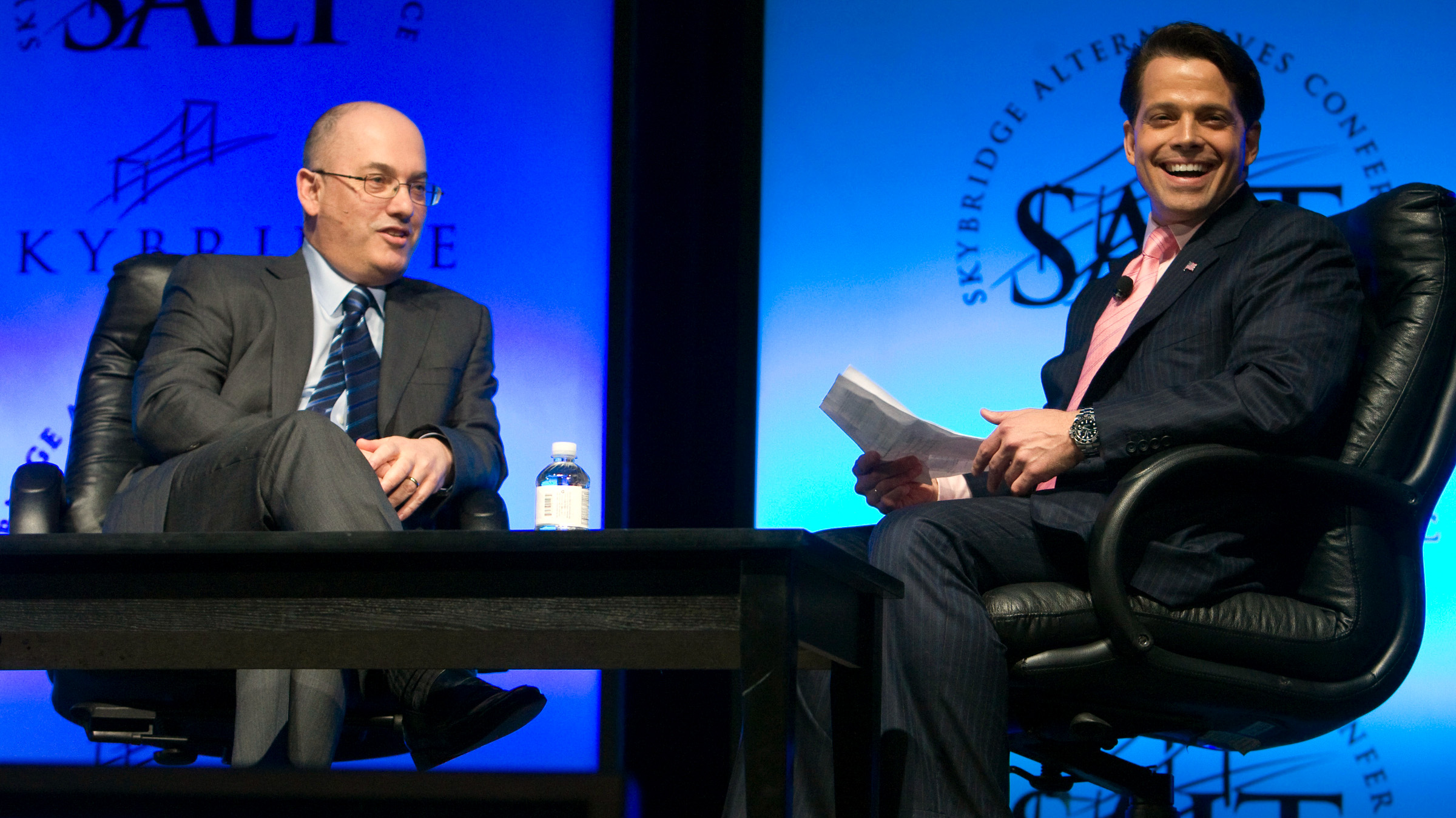 Hedge fund manager Steven A. Cohen (L), founder and chairman of SAC Capital Advisors, responds to a question during a one-on-one interview session with Anthony Scaramucci, managing partner of SkyBridge Capital, at the SkyBridge Alternatives (SALT) Conference in Las Vegas, Nevada May 11, 2011. Cohen, whose SAC Capital Advisors has drawn scrutiny from prosecutors probing insider trading, said his firm has and will cooperate with all government investigations.