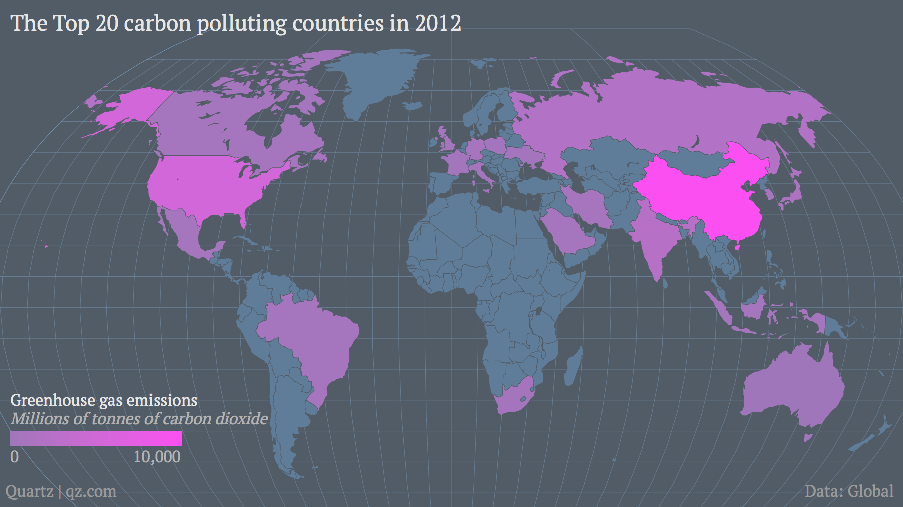 Top 20 carbon polluting countries 2012