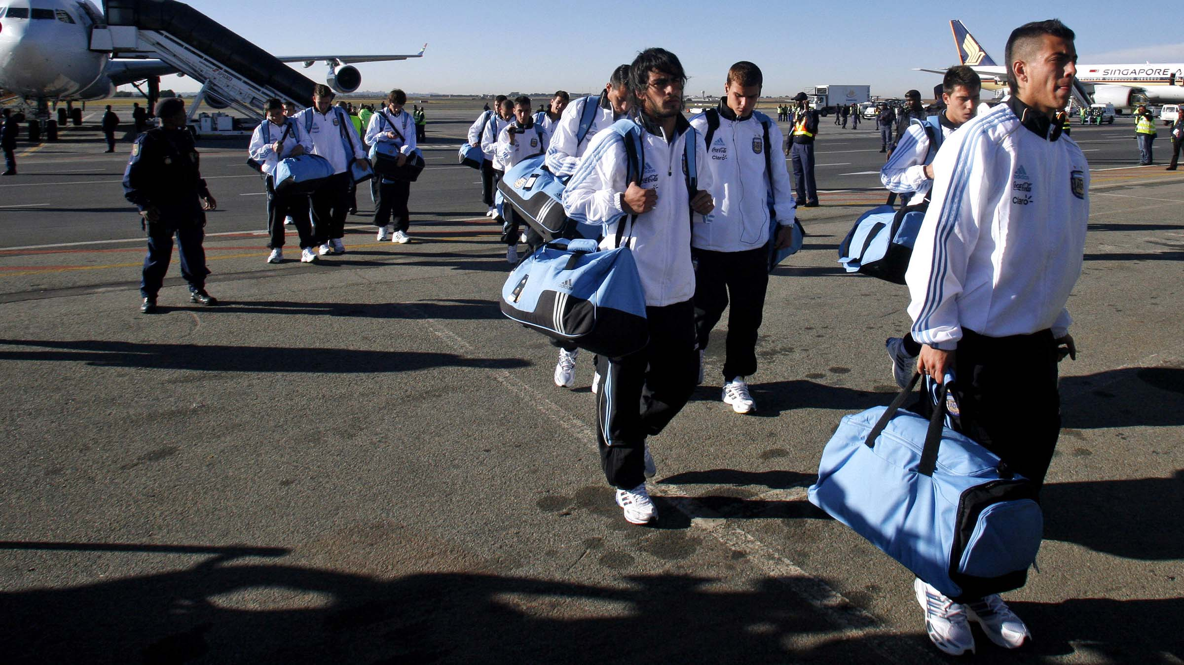 Argentina's soccer team arrive at the OR Tambo International Airport in Johannesburg, Saturday May 29, 2010. Argentina arrived for the upcoming World Cup, which gets underway on June 11,  2010. (AP Photo/Themba Hadebe)