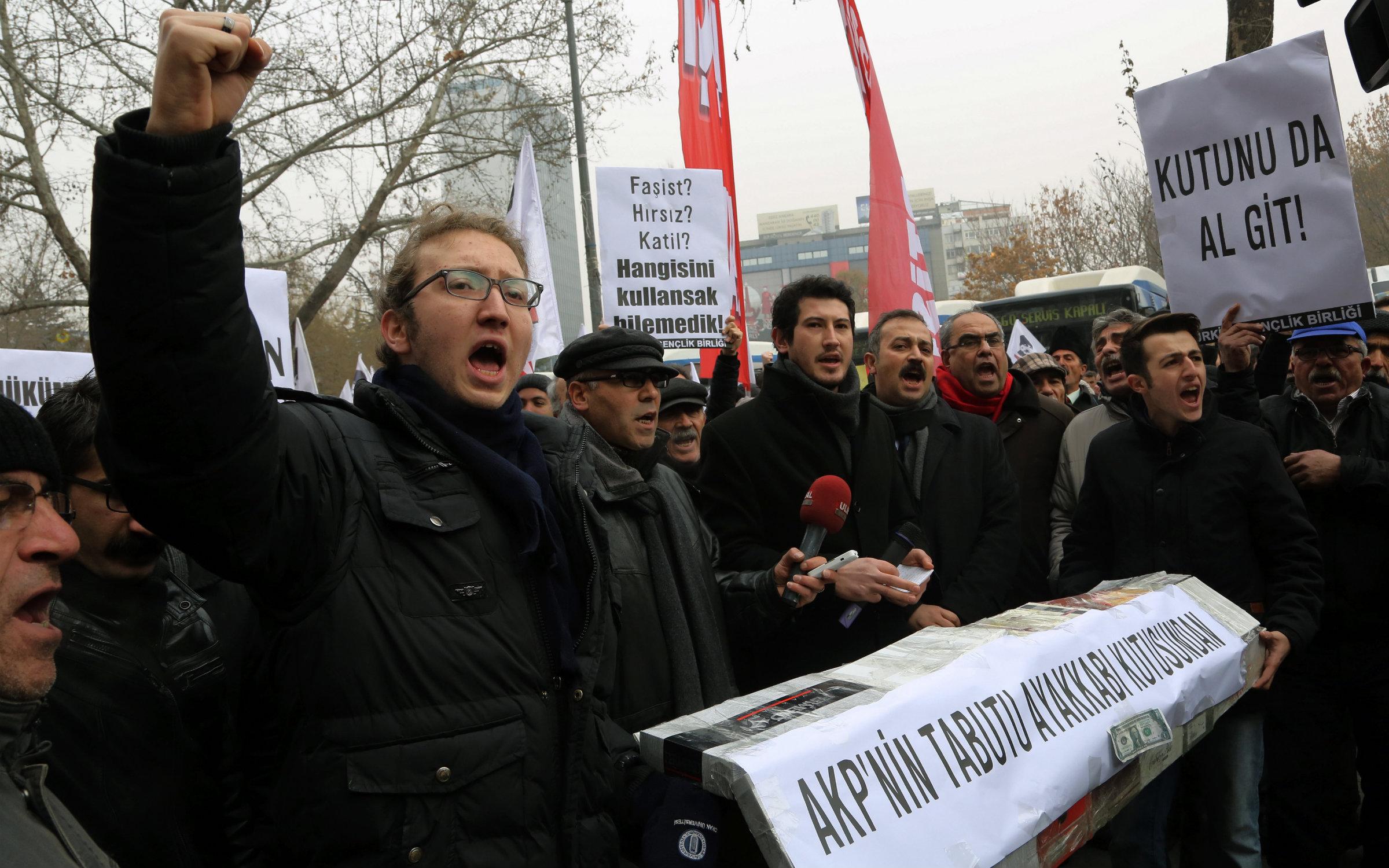 Protestors shout anti-government slogans in Ankara, Turkey on Dec. 21.