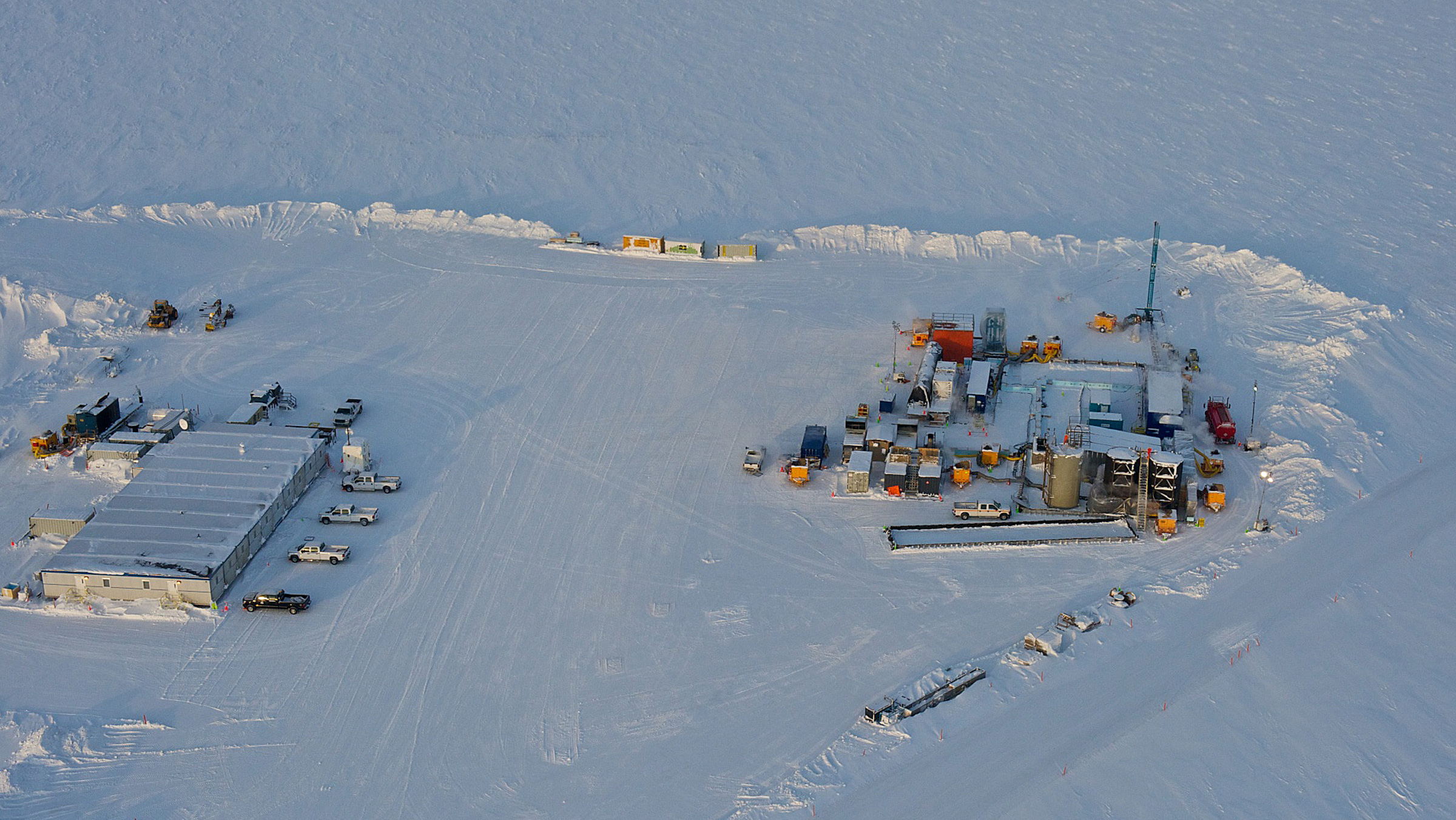 In this 2012 photo provided by ConocoPhillips Alaska Inc., a drill rig at Prudhoe Bay on Alaska's North Slope is seen. This rig is testing a method for extracting methane from methane hydrate. The department describes methane hydrate as a lattice of ice that traps methane molecules but does not bind them chemically. A half mile below the ground at Prudhoe Bay, above the vast oil field that helped trigger construction of the trans-Alaska pipeline, a drill rig has tapped what might one day be the next big energy source. The U.S. Department of Energy and industry partners over two winters drilled into a reservoir of methane hydrate, which looks like ice but burns like a candle as warmth from a match releases methane molecules.