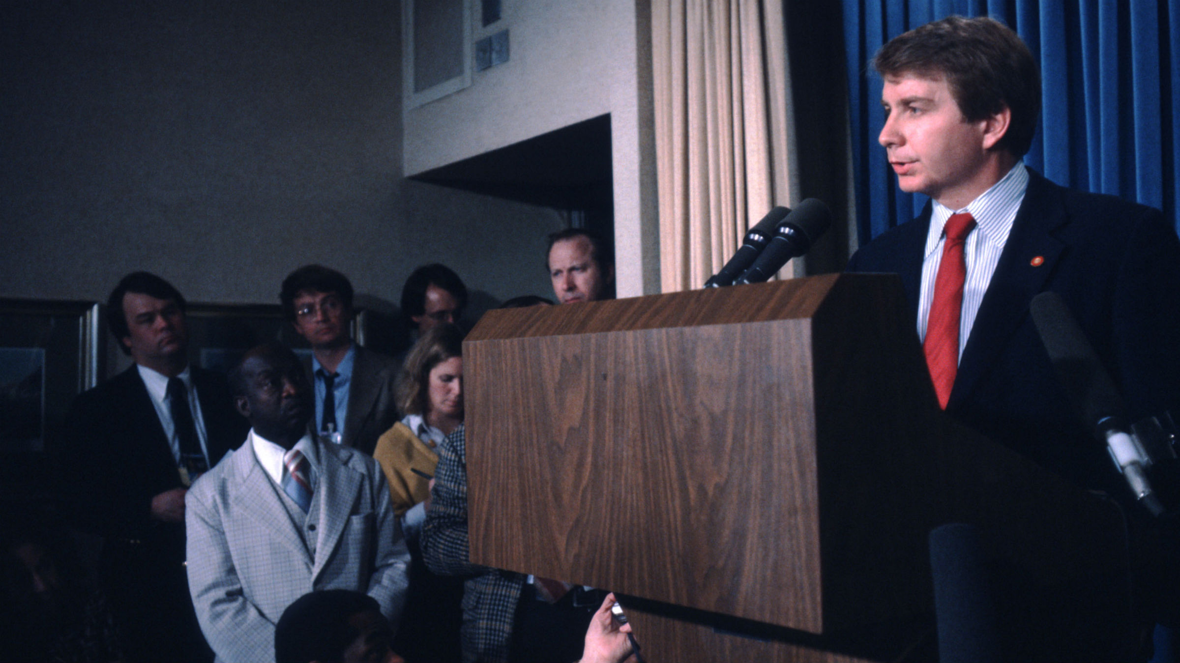 White House Press Secretary Larry Speakes Answers Questions Following Attempt On Reagan's Life
