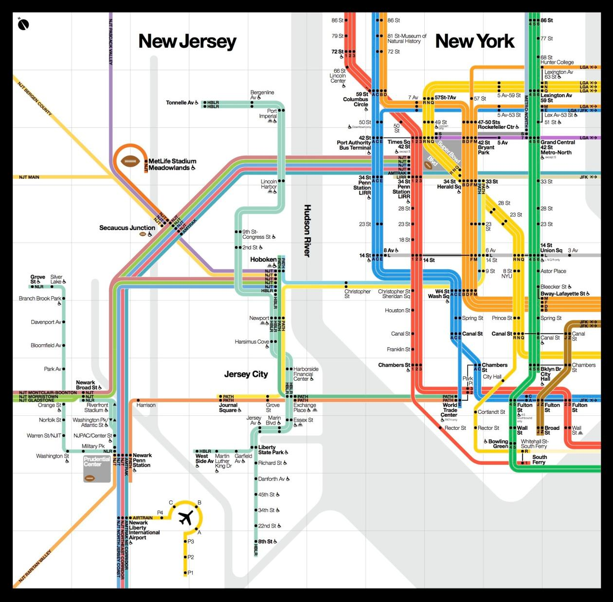 A beautiful new public transit map shows how New York and New Jersey ...