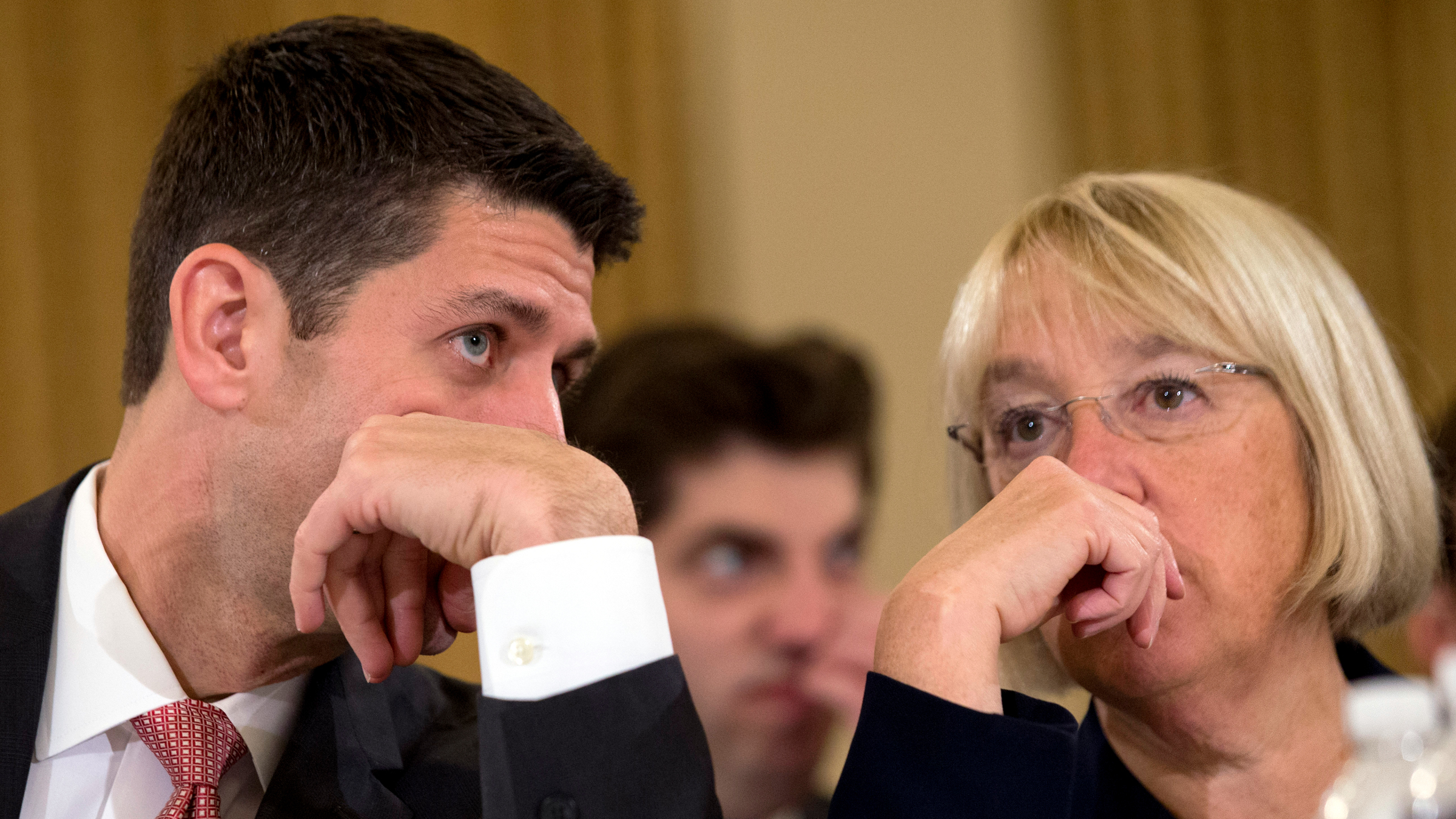 House Budget Committee Chairman Rep. Paul Ryan, R-Wis., left, speaks with Senate Budget Committee Chair Sen. Patty Murray, D-Wash., on Capitol Hill in Washington, Wednesday Nov. 13, 2013, at the start of a Congressional Budget Conference.