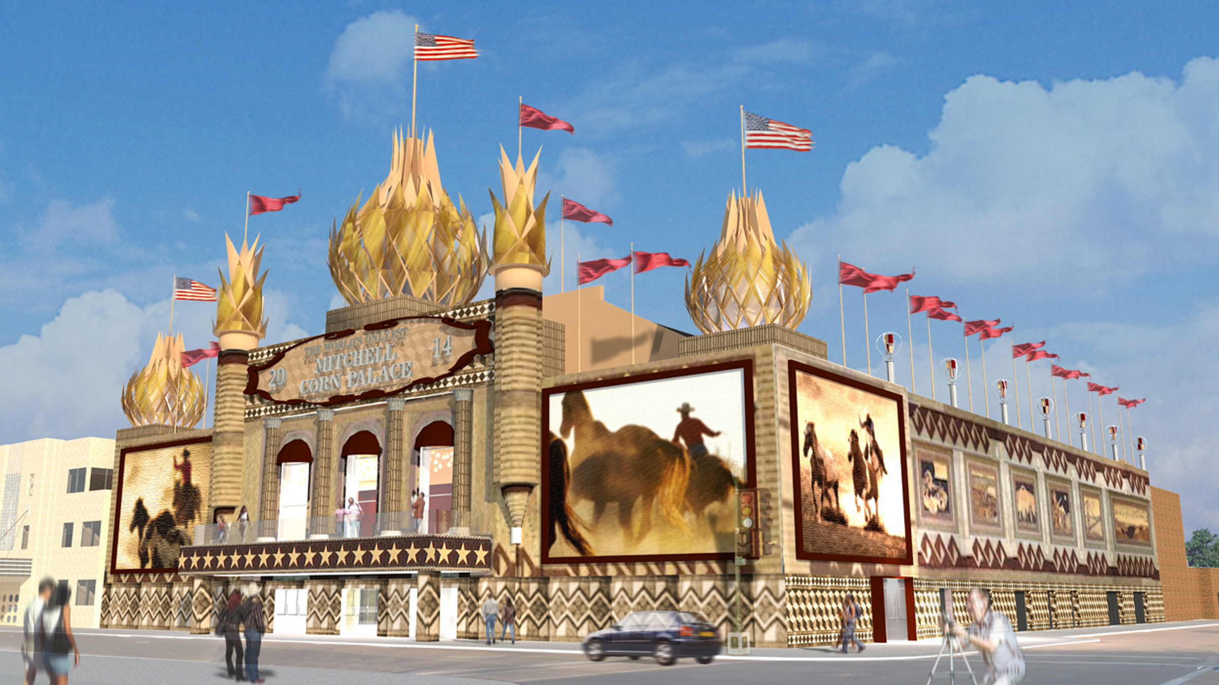 In this undated file photo provided by the Meyer Scherer & Rockcastle is a rendering of what the Corn Palace in Mitchell, S.D., will look like after renovations. The State Historic Preservation Office has given its blessing to the $7.2 million plan to upgrade the tourist attracting which is listed on the National Register of Historic Places. File)