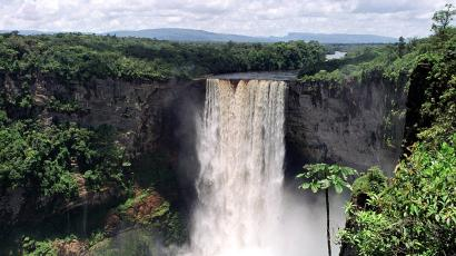 The world's highest single drop-off of water, the Kaieteur Falls, are seen from a natural overlook above the Potaro River in southwest Guyana, on August 9, 2000. Named for old Indian chief Kaie, who legend has it paddled over the falls to appease the gods and save his Patamona tribe, Kaieteur is five times the height of Niagara Falls and twice as tall as Victoria Falls. Guyana is considering giving more tourists the chance to take in the remote wonder of the world's highest sheer drop-off of water.