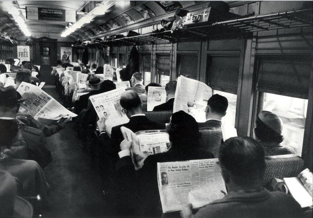 Newspapers on train