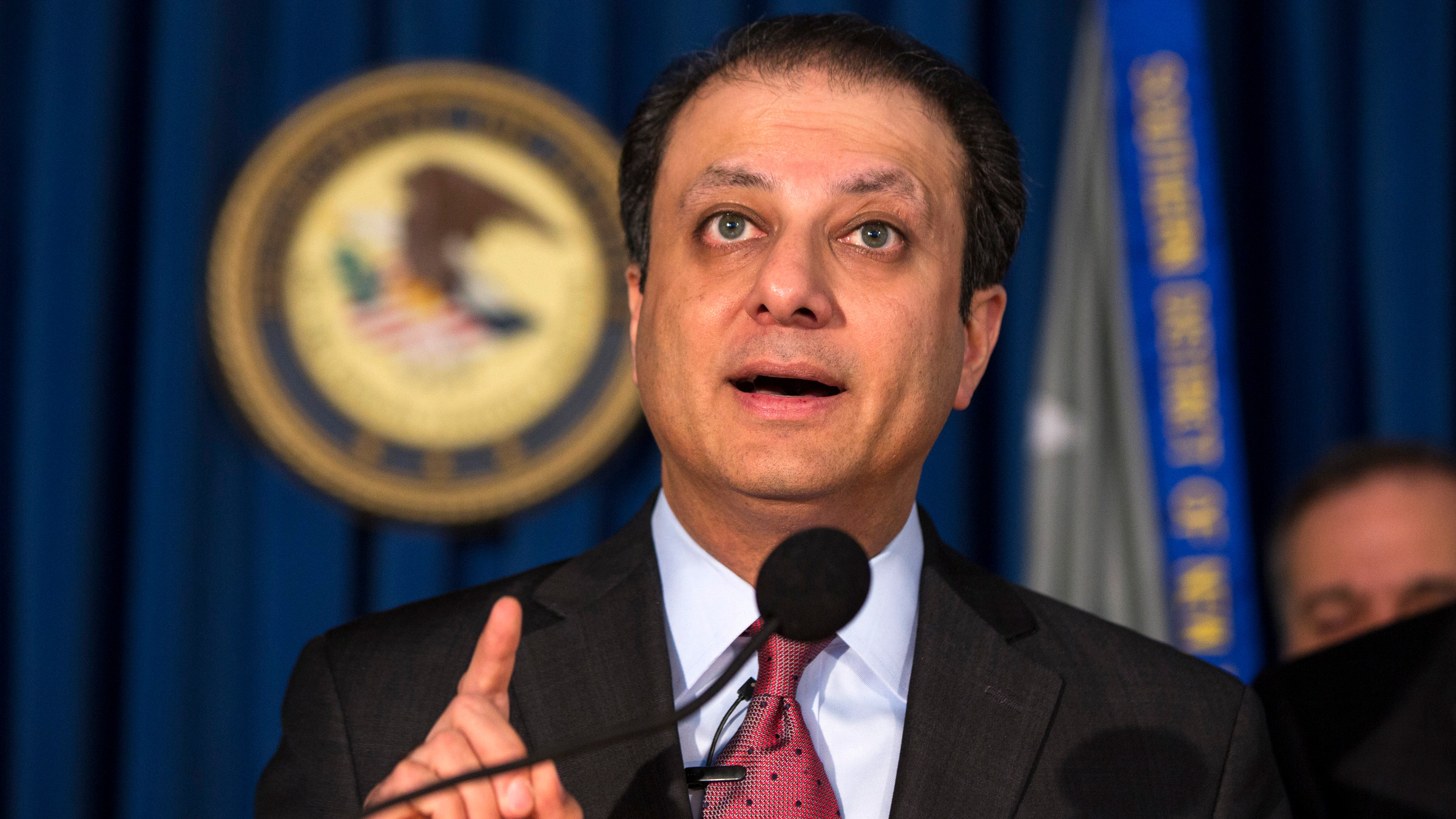 Preet Bharara, U.S. Attorney for the Southern District of New York discusses charges being brought against the debt settlement company Mission Settlement Agency, at a news conference in New York, May 7, 2013.