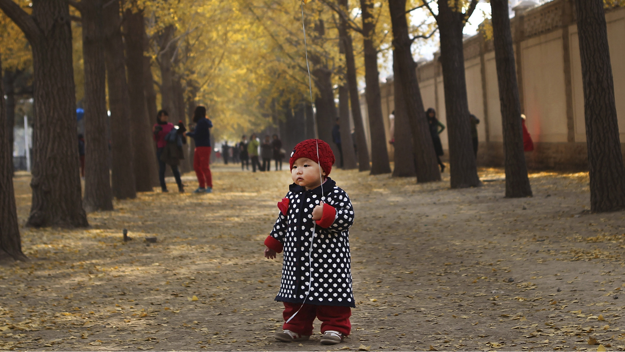 One-year-old Qiqi holds a ballon on a street outside Diaoyutai State Guesthouse in central Beijing, November 8, 2013. REUTERS/China Daily