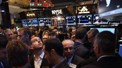 The floor of the New York Stock Exchange on the morning of Twitter's IPO.