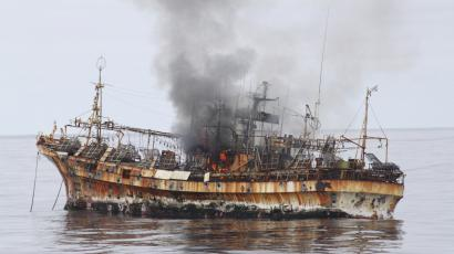 "Japanese fishing vessel, ""Ryou-Un Maru"", shows significant signs of damage after U.S. Coast Guard Cutter Anancapa fired explosive ammunition into it, 180 miles (about 290 km) west of the Southeast Alaskan coast April 5, 2012. The U.S. Coast Guard opened fire on Thursday on a derelict Japanese fishing vessel washed out to sea by last year's devastating tsunami in a bid to sink it and eliminate a threat to navigation, a spokesman for the agency said. REUTERS/U.S. Coast Guard/Handout"