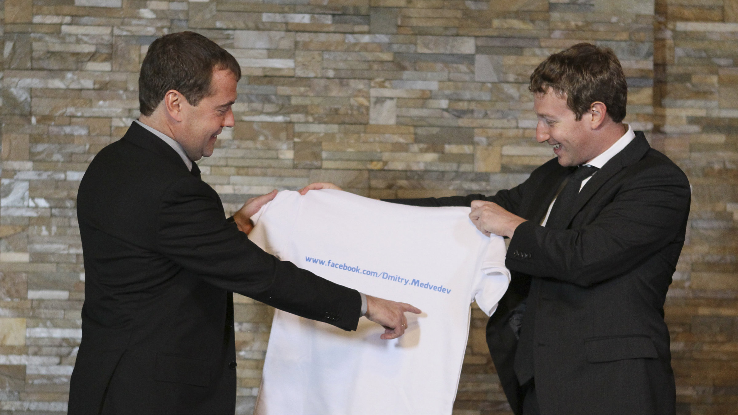 The way to Dmitry Medvedev's heart is through an oversize t-shirt.