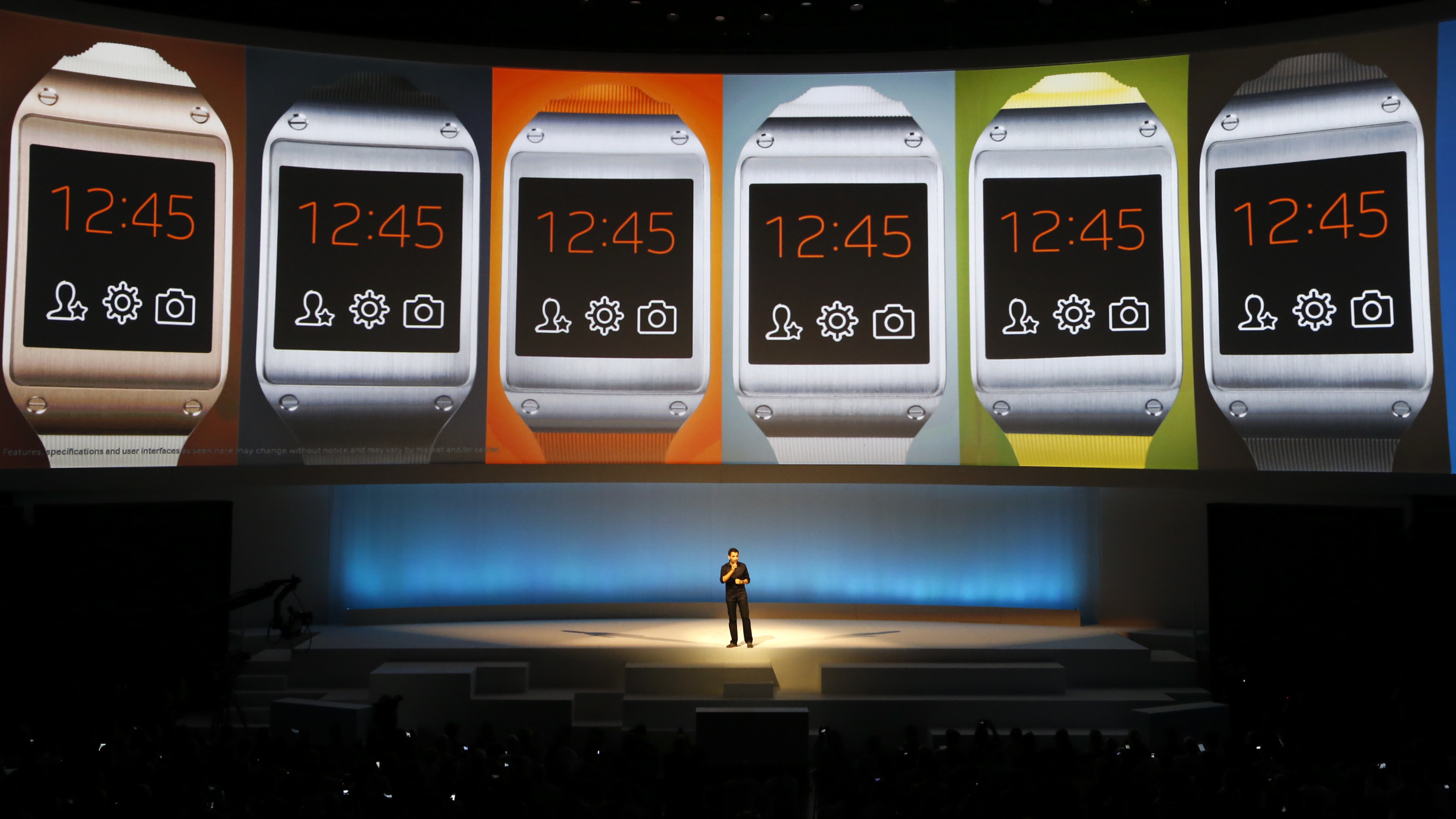Pranav Mistry, head of the think tank team, Samsung Research America presents the Samsung Galaxy Gear smartwatch during its launch at the 'Samsung UNPACKED 2013 Episode 2' at the IFA consumer electronics fair in Berlin, September 4, 2013. The IFA consumer electronics and home appliances fair will open its doors to the public from September 6 till 11 in the German capital.            REUTERS/Fabrizio Bensch (GERMANY  - Tags: BUSINESS TELECOMS SCIENCE TECHNOLOGY)   - RTX137AJ