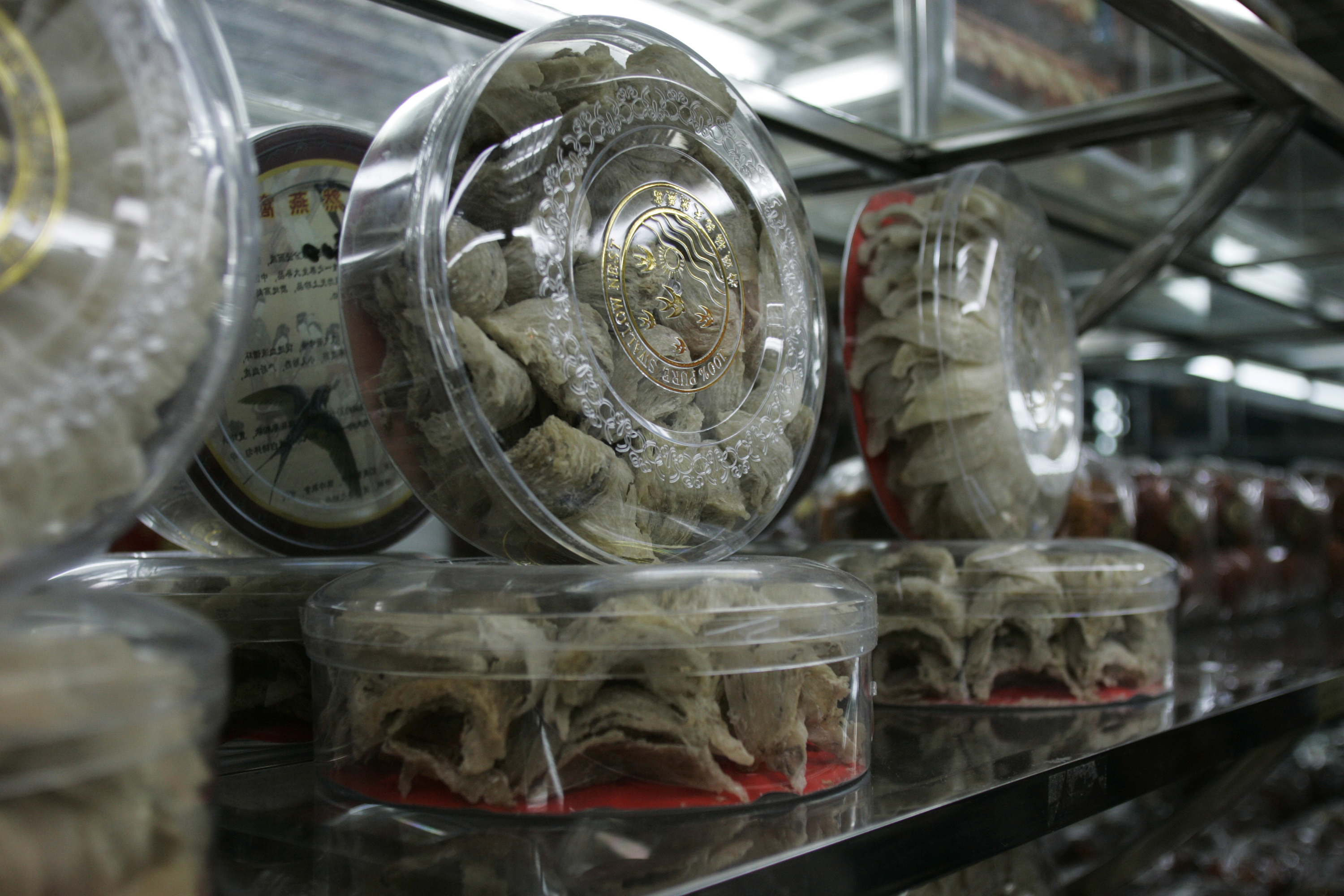 Packages of birds nests are seen at a store in the southern Chinese city of Guangzhou in Guangdong province