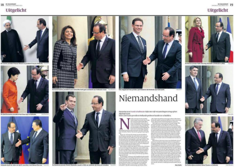 French President Francois Hollande handshakes