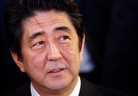 Japan's Prime Minister Shinzo Abe arrives at the annual meeting of the World Economic Forum (WEF) in Davos