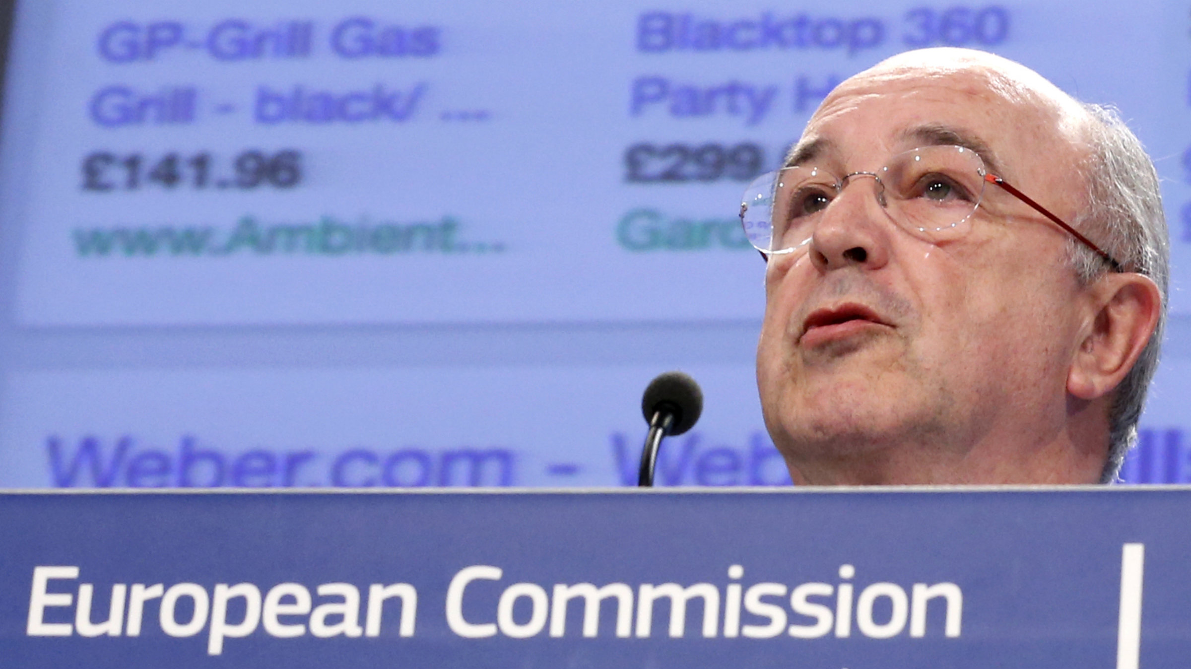 European Union Competition Commissioner Joaquin Almunia searches for gas grills.