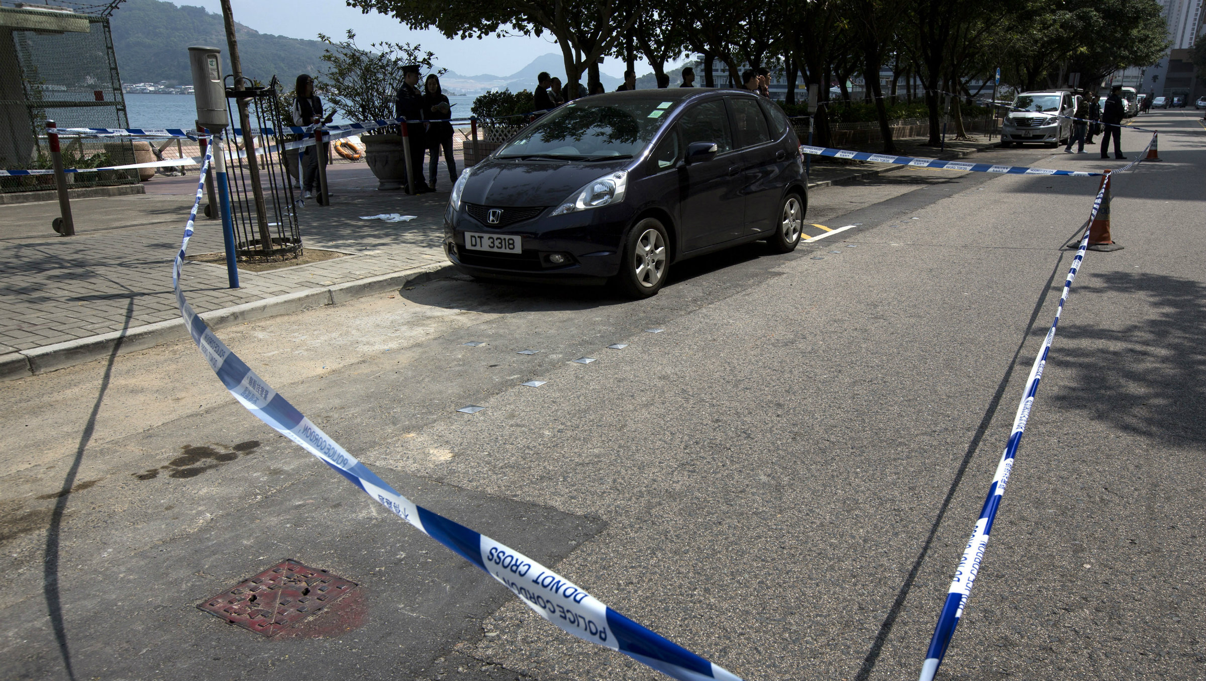 Editor Kevin Lau's car, after he was stabbed in Hong Kong.