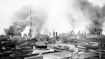 The vast Cleveland Rolling Mills in Cleveland is shown in this turn-of-the century photo. Once the largest employer in the city, the works became Republic Steel later in the century. Now, as 2000 approaches, a much smaller LTV steel is all that is left.