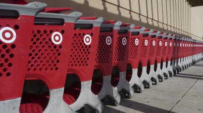 Plenty of carts were available at Target during its fourth quarter.