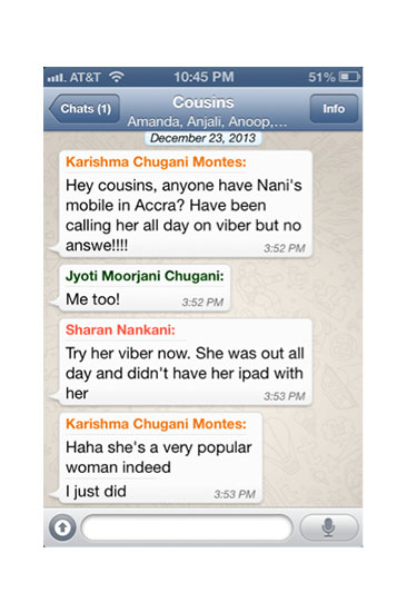 The family that WhatsApps together stays together—even across four