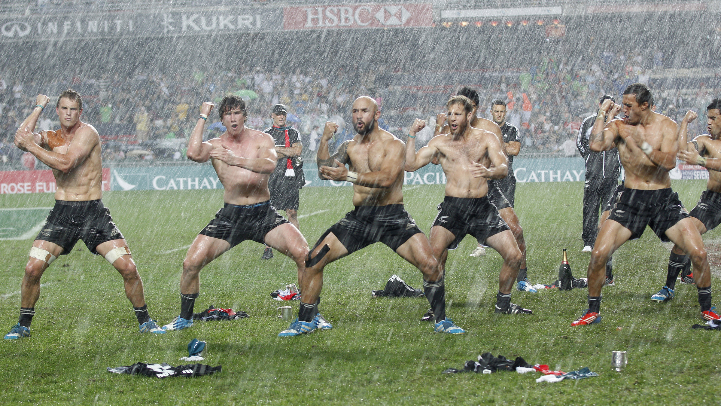 The end of the Hong Kong Sevens Rugby tournament, rain and all.