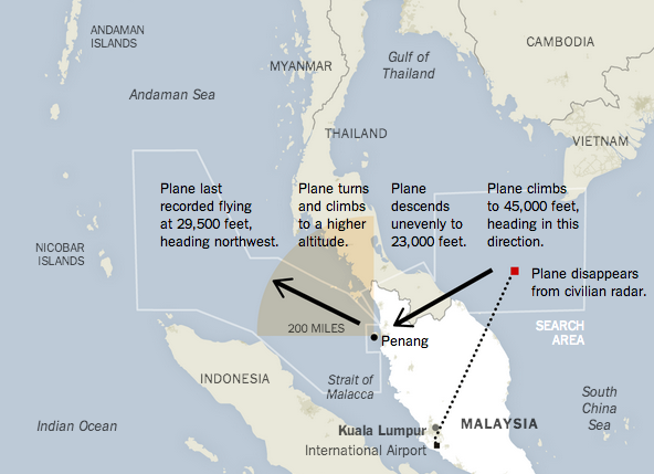 NYT graphic of Malaysia Airlines flight path