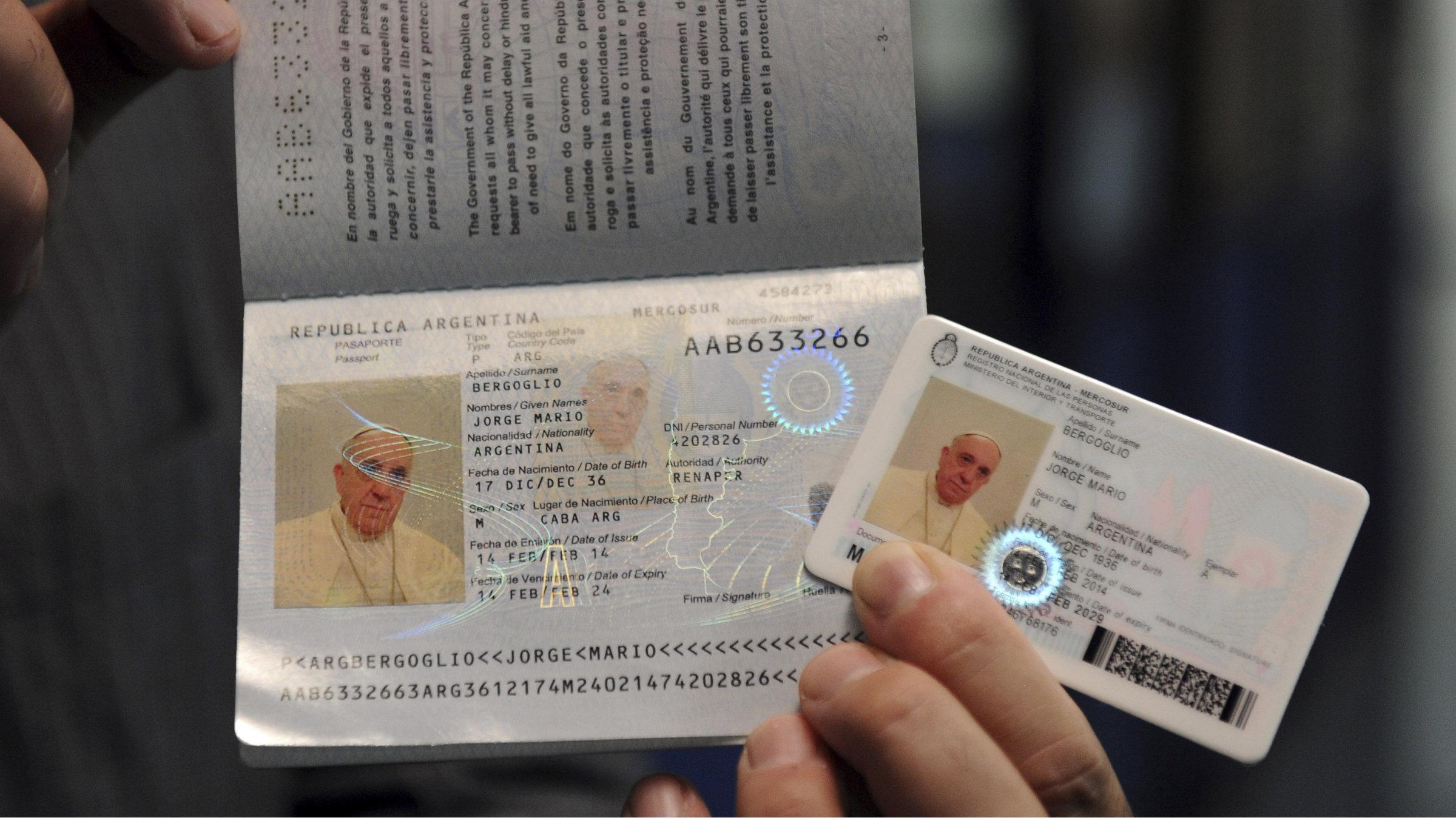 Pope's passport and ID