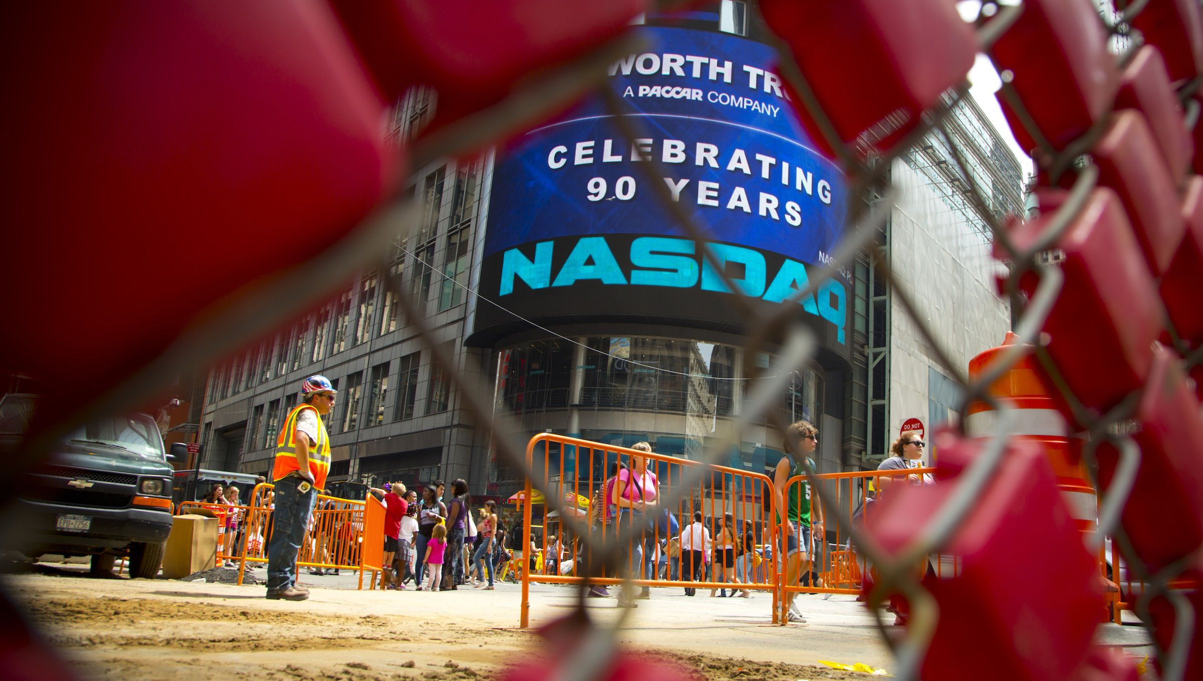 A construction site in front of Nasdaq