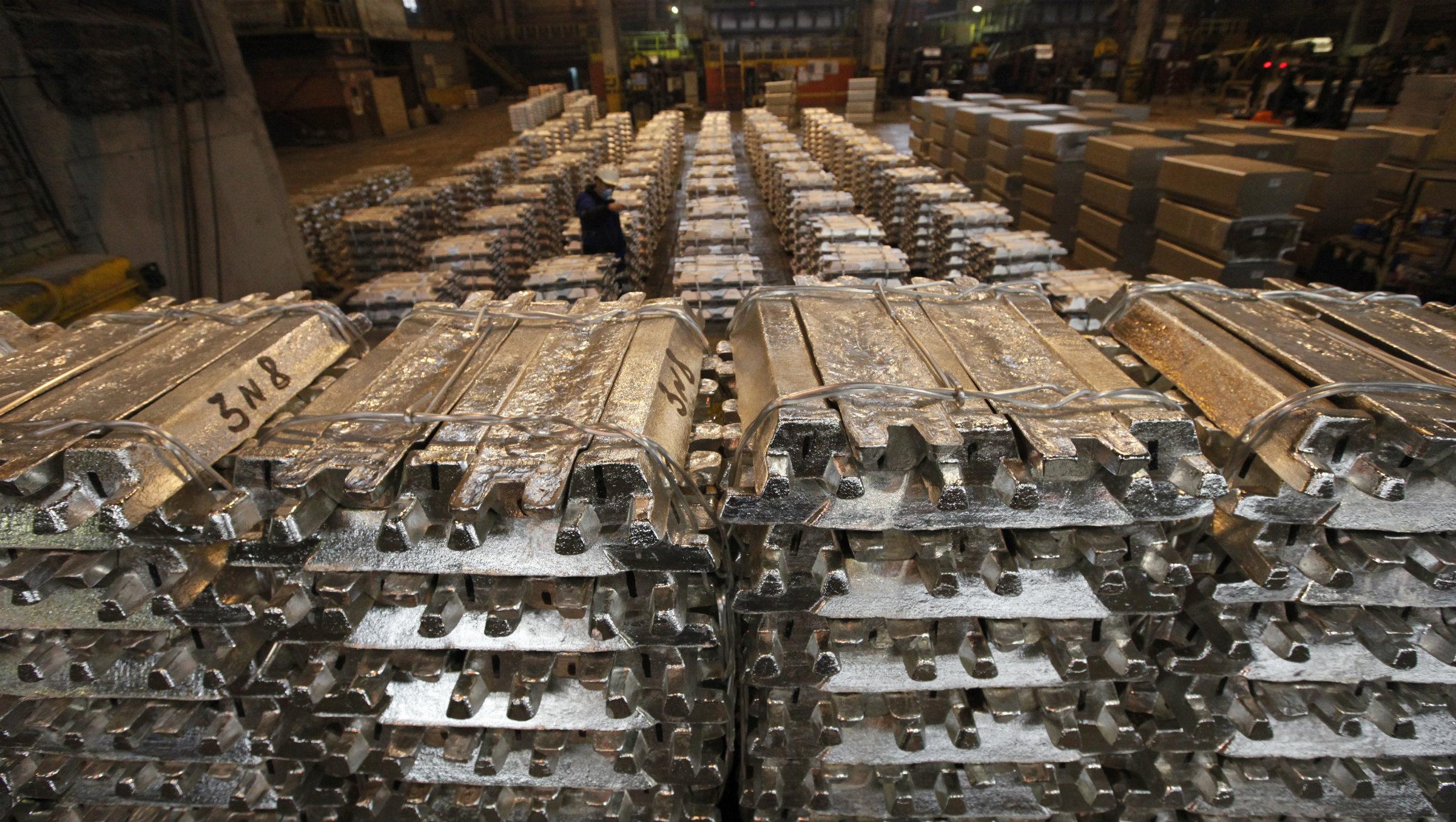 Aluminum bars in a Russian warehouse.