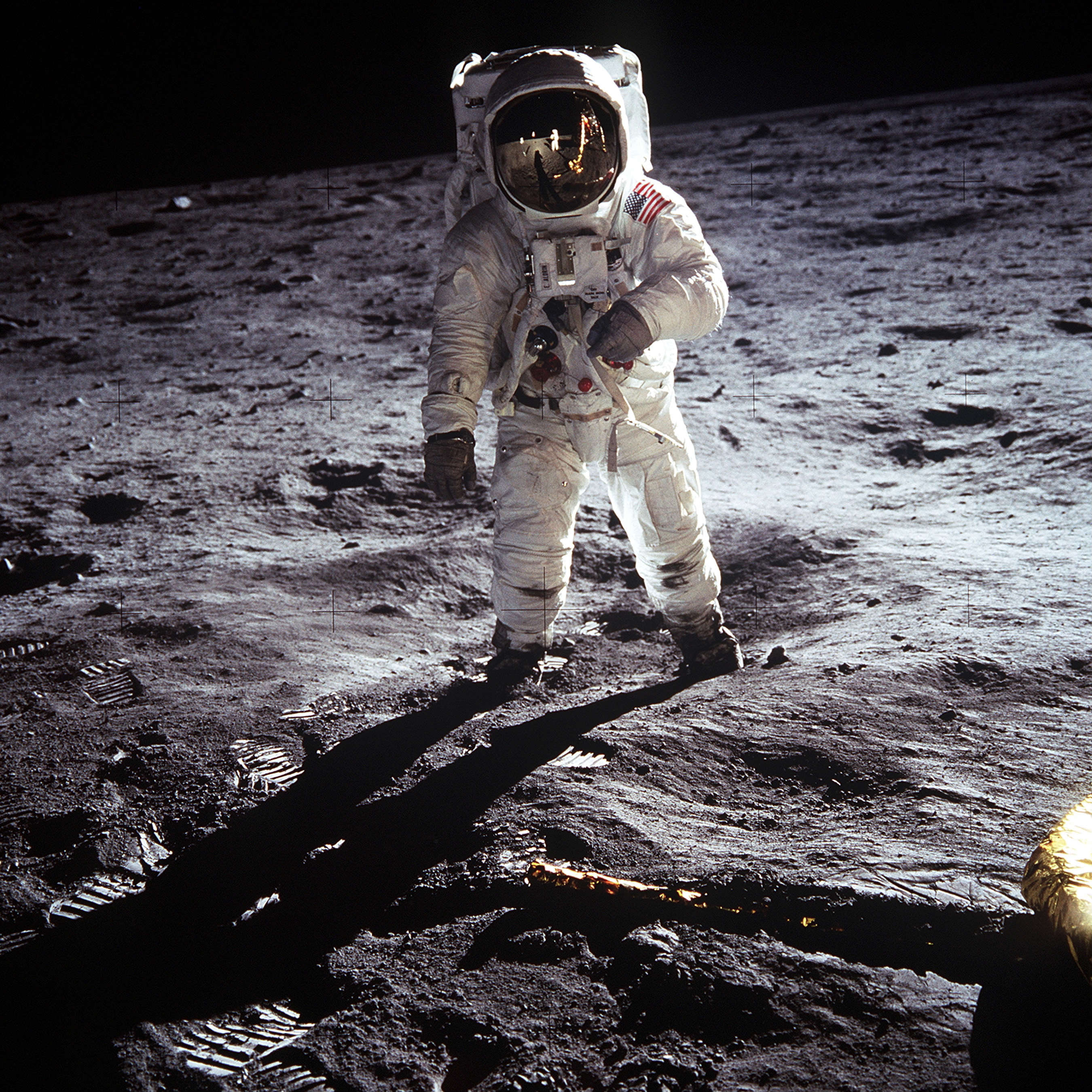 """This NASA file image shows Apollo 11 U.S. astronaut Buzz Aldrin standing on the Moon, next to the Lunar Module """"Eagle"""" (R), July 20, 1969. Apollo 11 was launched forty years ago today on July 16, 1969, and carried astronauts Neil Armstrong, who was the Mission Commander and the first man to step on the Moon, Aldrin, who was the Lunar Module Pilot, and Michael Collins, who was the Command Module pilot. Armstrong took this photograph. REUTERS/Neil Armstrong-NASA/Handout"""