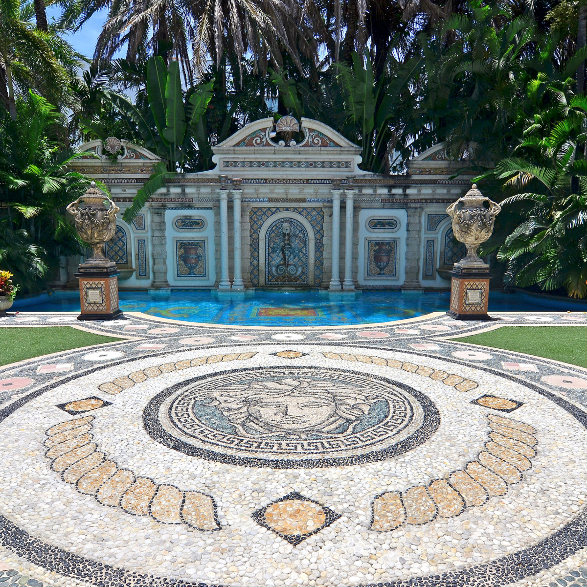 The mosaic on the the patio of the South Beach mansion formerly owned by fashion designer Gianni Versace in Miami Beach, Florida July 23, 2013. Versace spent $33 million renovating the house, which features a 54-foot mosaic pool lined with 24-karat gold, according to Fisher Auction Company. The mansion will be offered for sale at an auction on September 17, 2013.