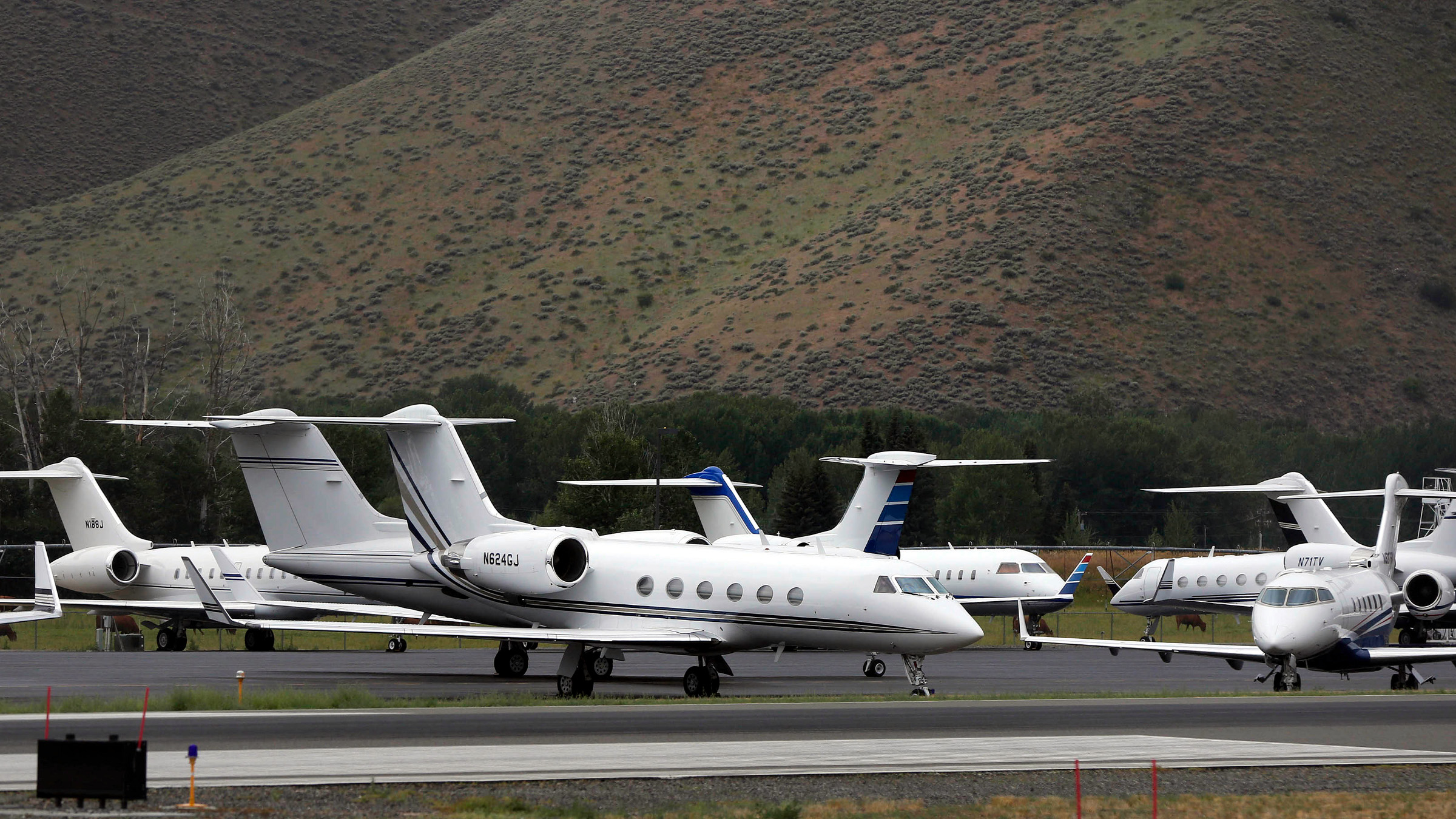 At least 20 private jet aircraft sit parked at the Friedman Memorial Airport during the Allen & Co Media Conference in Sun Valley, Idaho July 13, 2012.