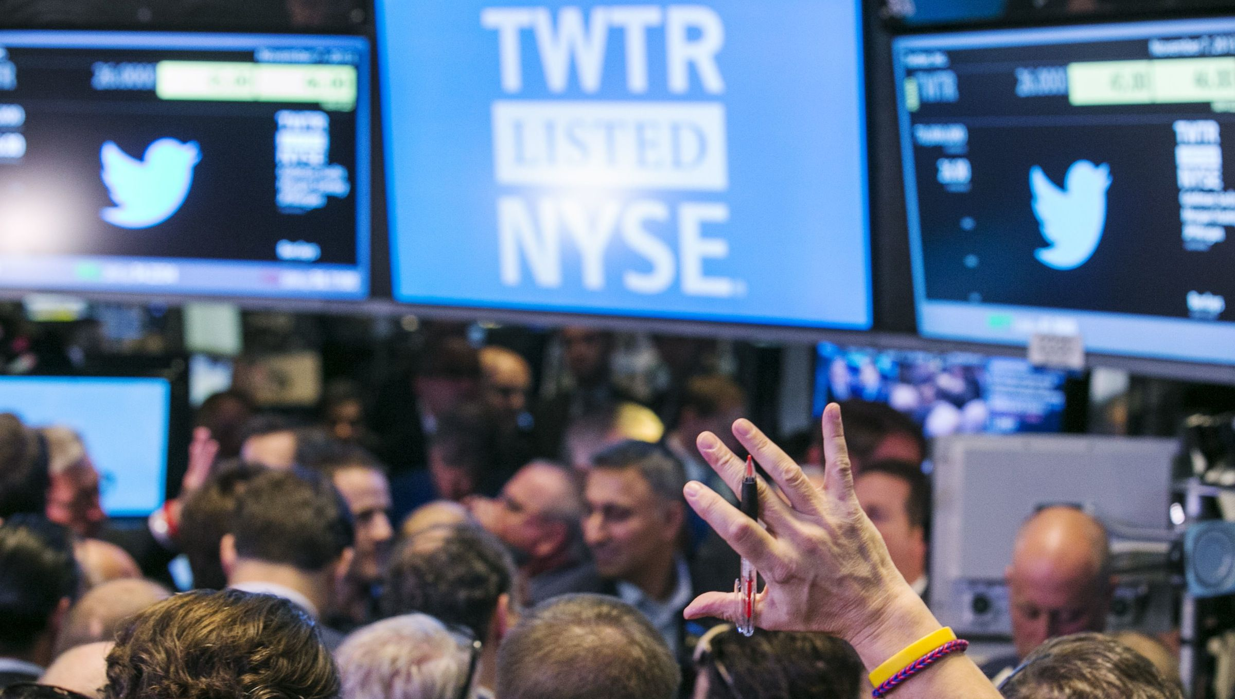 Trading mele on NYSE floor for Twitter's IPO