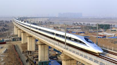 A high-speed train travelling to Guangzhou