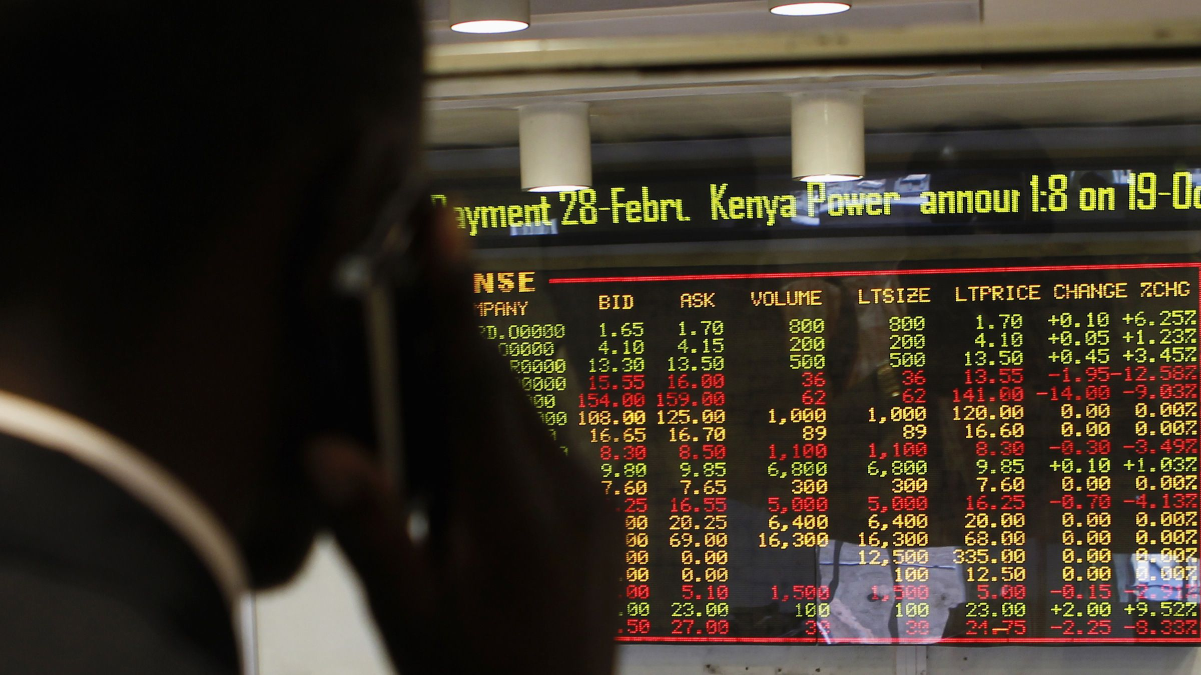 A stockbroker transacts shares during a trading session at the Nairobi Securities Exchange in Kenya's capital Nairobi January 11, 2012. REUTERS/Thomas Mukoya (KENYA - Tags: BUSINESS SOCIETY) - RTR2W5B2