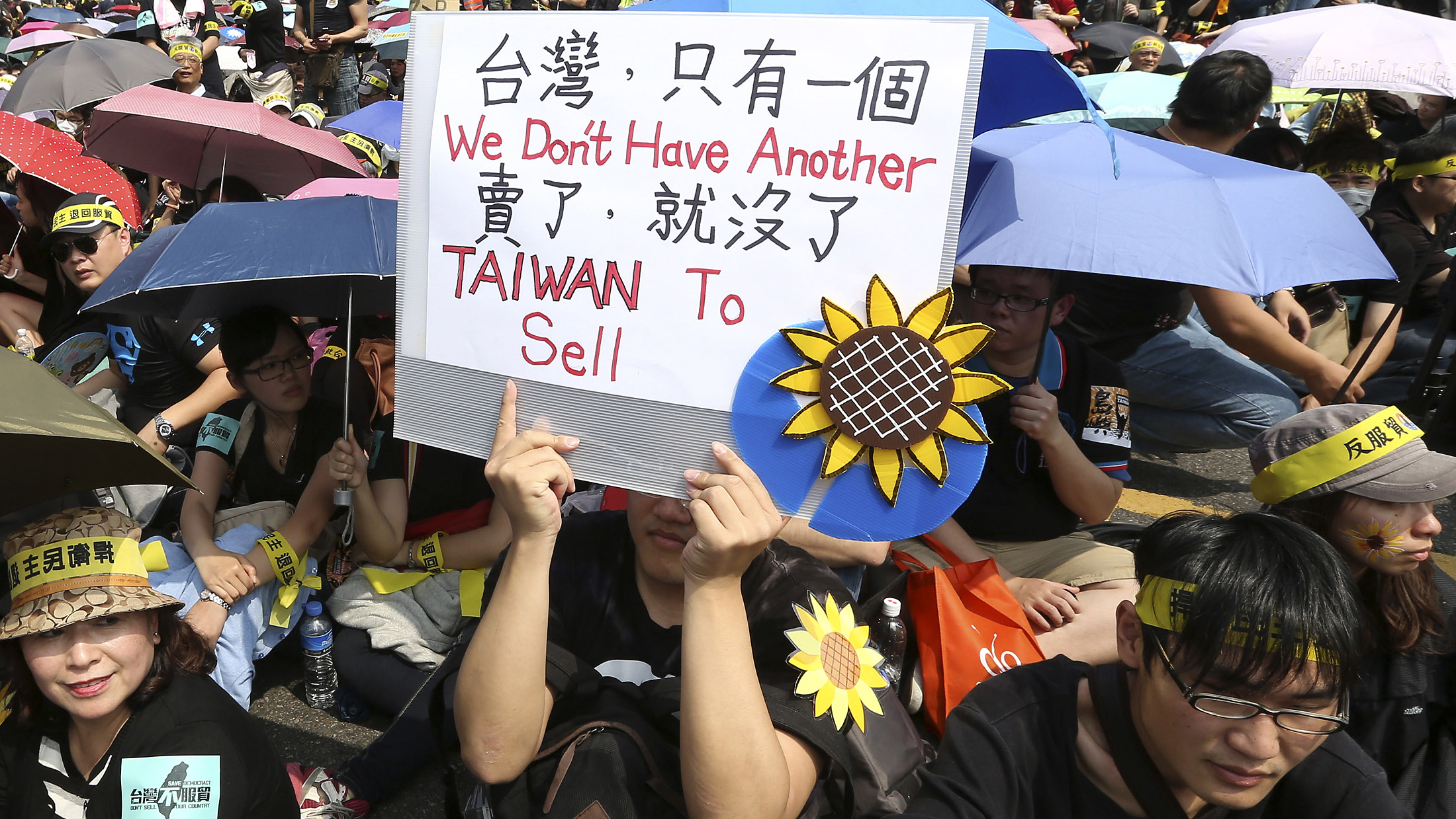 A demonstrator holds placard in front of the Presidential Office in Taipei March 30, 2014. Thousands of demonstrators marched the streets on Sunday to protest against the controversial trade pact with mainland China. REUTERS/Patrick Lin