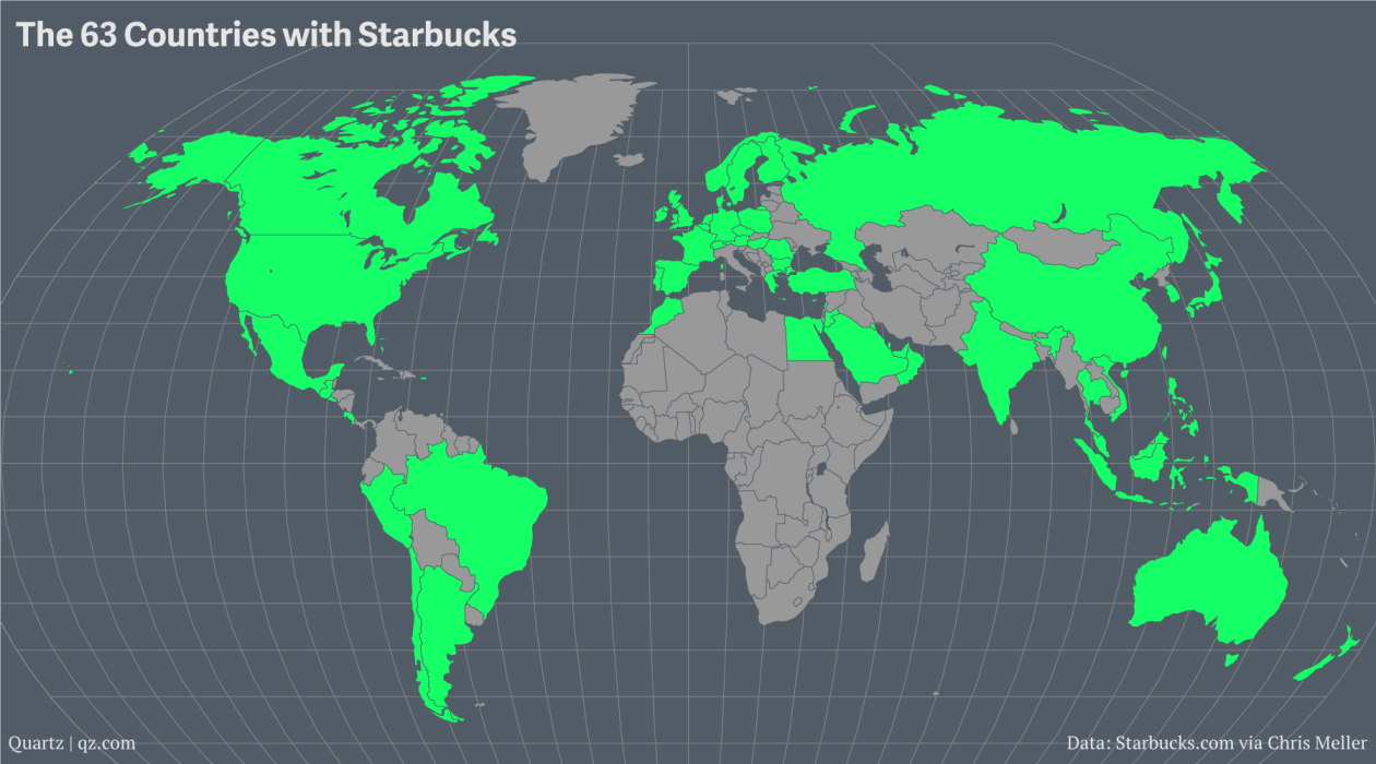 Starbucks Locations Map Maps of every Starbucks on Earth — Quartz Starbucks Locations Map