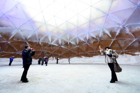Ice dome in Juuka, Finland made of Pykrete