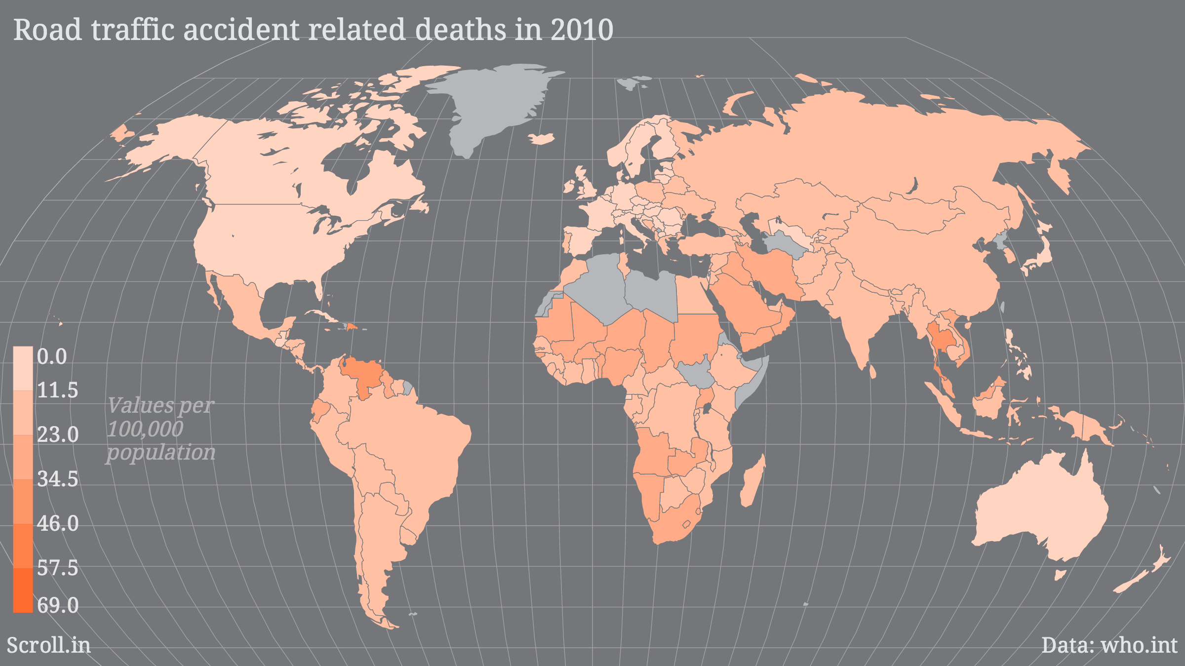 Country wise figures of road traffic related deaths in 2010.