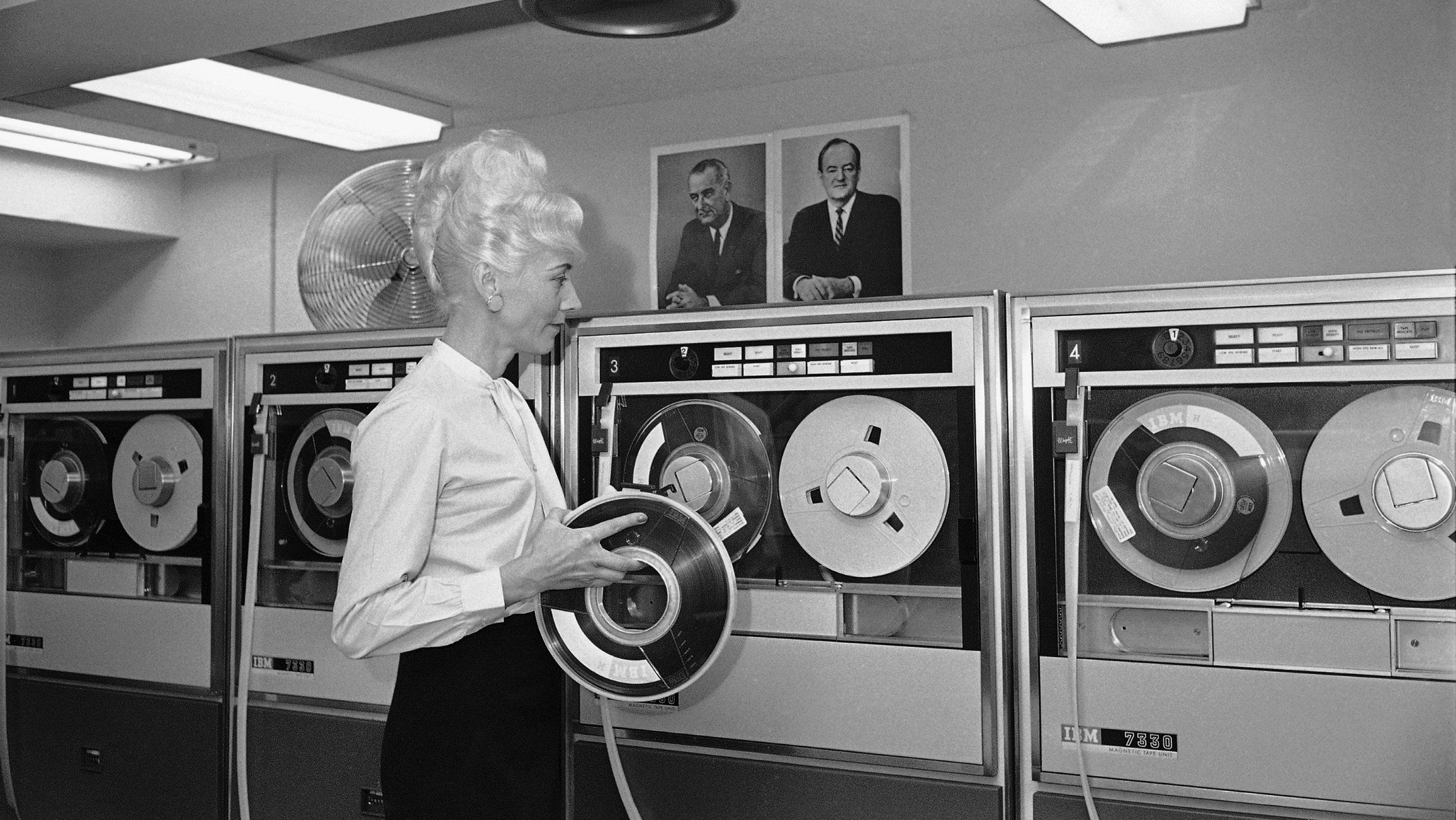 Mrs. Beatrice Louloudis of Silver Spring, Md., manager of data processing with the machine at Democratic National Committee headquarters, Dec. 8, 1965.