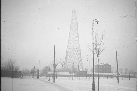 Shukhov tower photographed by Vladimir Shukhov in 1922