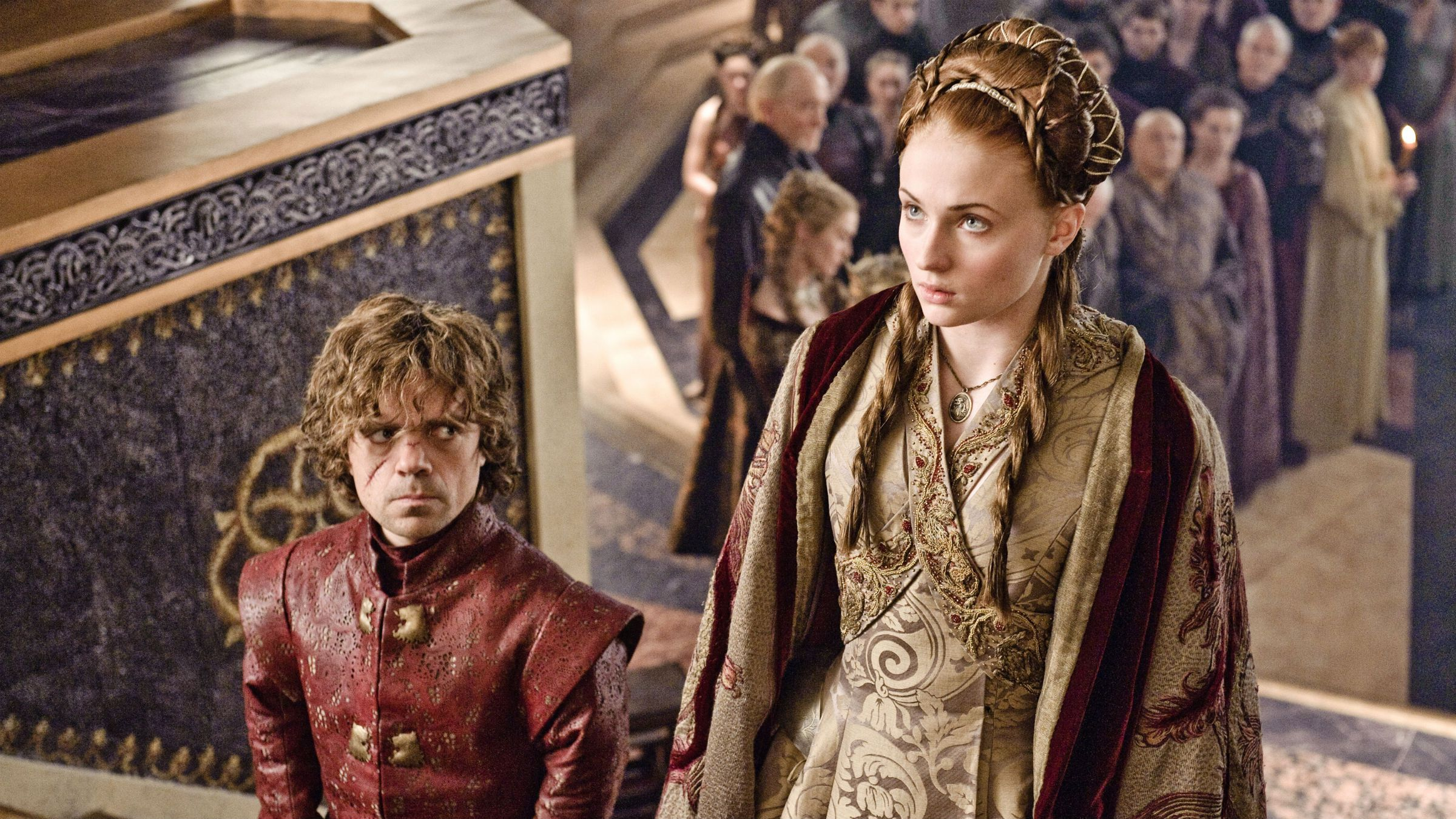 """This publicity image released by HBO shows Peter Dinklage, left, and Sophie Turner in a scene from """"Game of Thrones."""" The program was nominated for an Emmy Award for outstanding drama series on, Thursday July 18, 2013. The Academy of Television Arts & Sciences' Emmy ceremony will be hosted by Neil Patrick Harris. It will air Sept. 22 on CBS."""