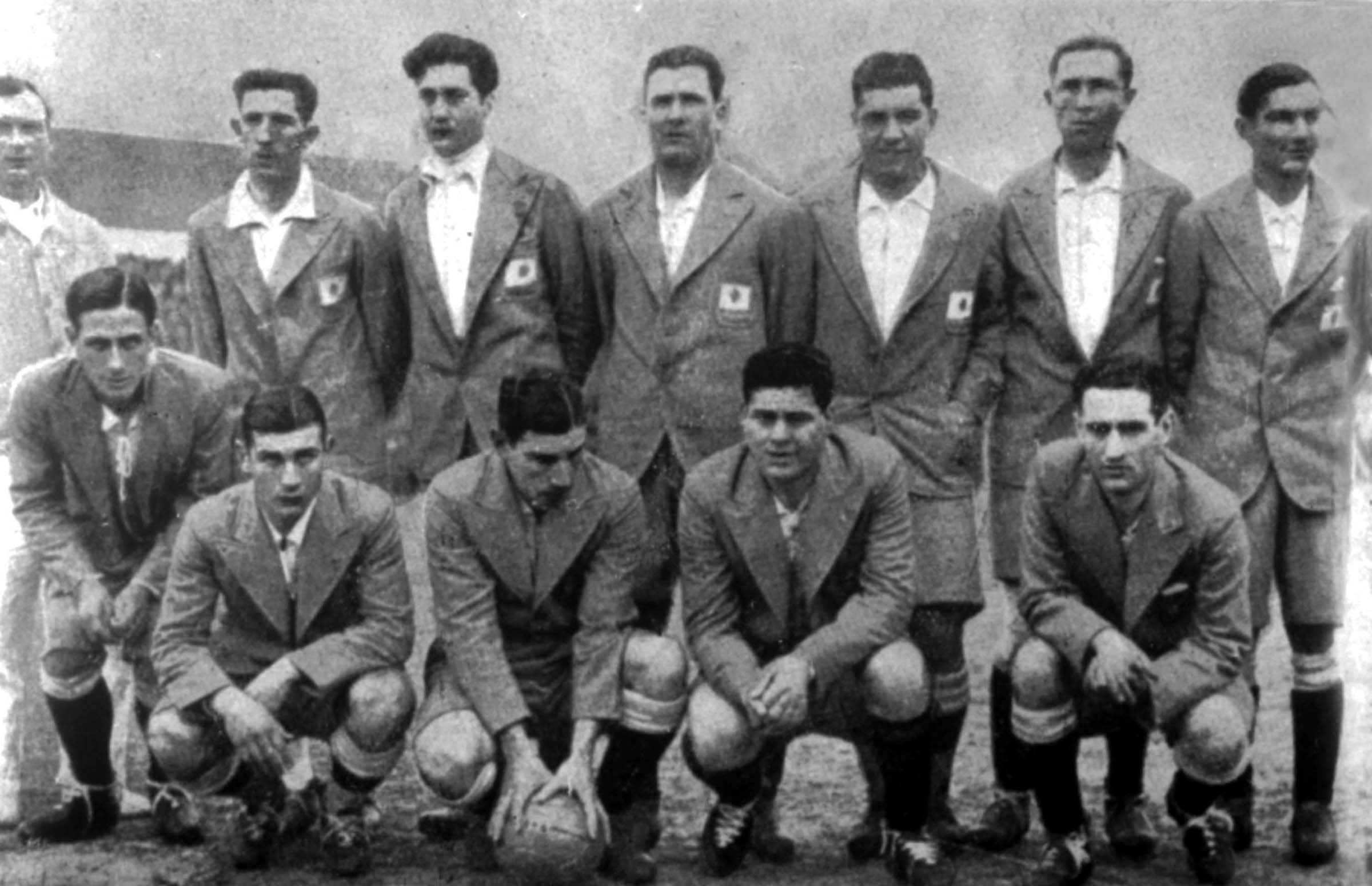 Argentina soccer team poses prior to the start of the World Cup Final, in Montevideo, Uruguay, July 30, 1930. Argentina was defeated by Uruguay 4-2 in the World Cup final. (AP Photo)