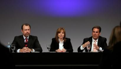 General Motors President Dan Ammann, left, CEO Mary Barra, and Executive Vice President Mark Reuss, hold a press conference at the General Motors Technical Center in Warren, Mich., Thursday, June 5, 2014. Barra said 15 employees — many of them senior legal and engineering executives — have been forced out of the company for failing to disclose a defect with ignition switches, which the company links to 13 deaths. Five other employees have been disciplined.