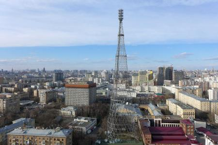 Aerial photo of Shukhov tower, Moscow, Russia