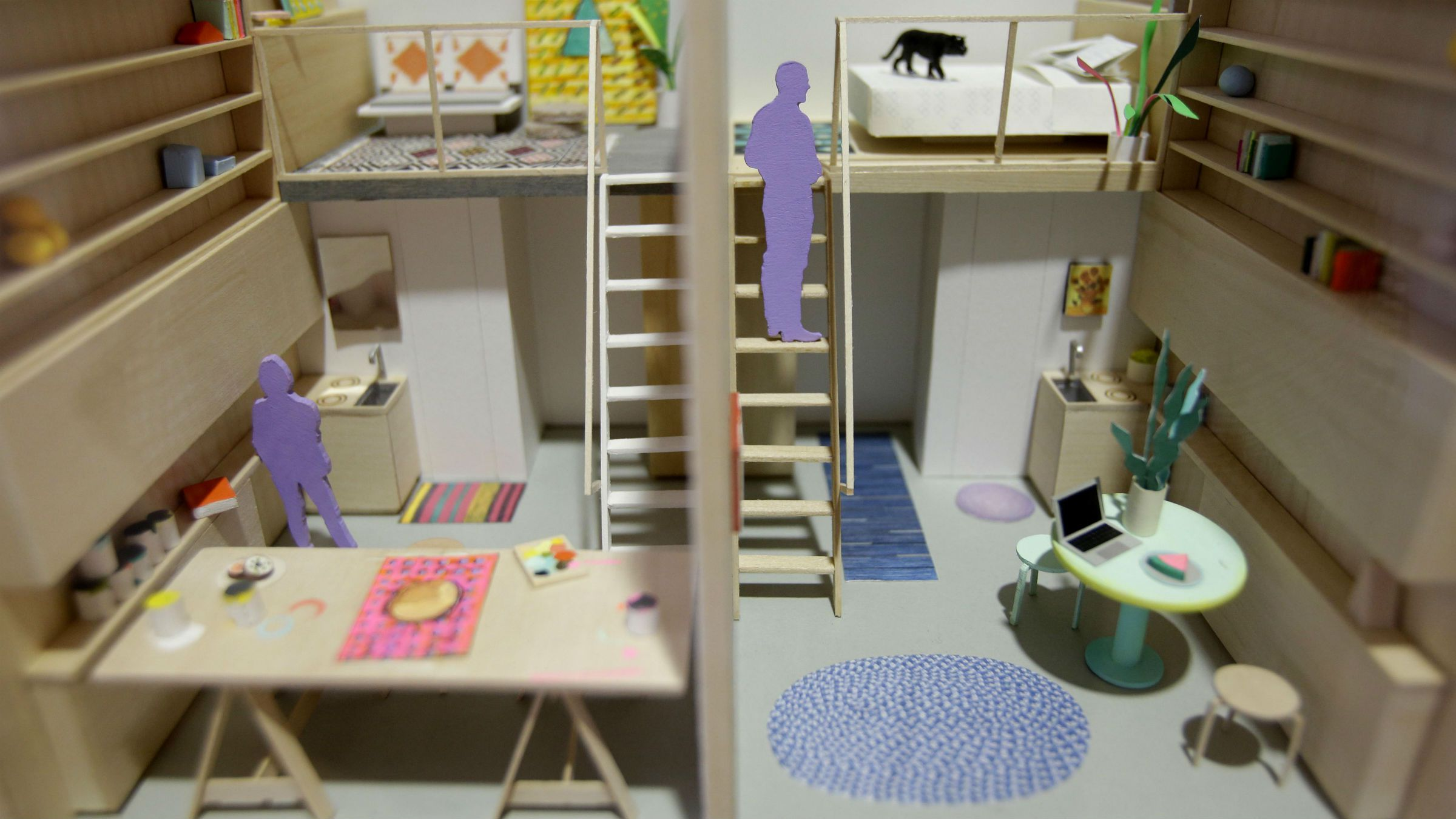"A model of micro-apartments are displayed at an exhibit called ""Making Room: Models for Housing New Yorkers"" at the Museum of the City of New York in New York, Tuesday, Jan. 15, 2013. The exhibit grew out of the city's PlaNYC, which projected the city's population will grow by about 600,000 people by 2030."