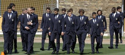 Italian national soccer team players in dolce and gabbana suits
