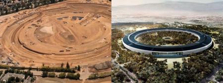 Aerial construction photo and rendering of Apple's new campus